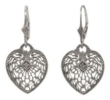 Antique Style Heart Shaped Diamond Dangle Earrings | Sterling Silver