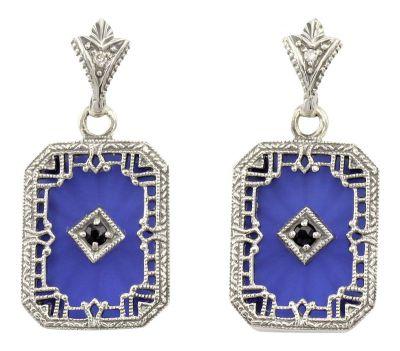 Art Deco Style Blue Sunray Crystal, Sapphire & Diamond Drop Earrings in Sterling Silver