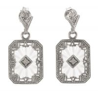 Art Deco Style Sterling Silver Starburst Crystal and Diamond Drop Earrings