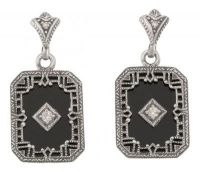 Art Deco Style Sterling Silver Black Onyx and Diamond Drop Earrings