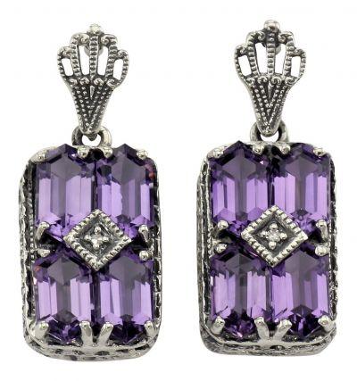 Art Deco Style Sterling Silver Amethyst & Diamond Earrings