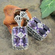 Art Deco Style Sterling Silver Amethyst & Diamond Earrings