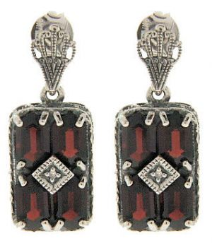 Art Deco Style Sterling Silver Garnet & Diamond Earrings