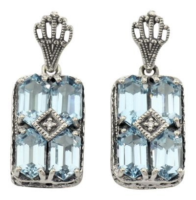 Art Deco Style Sterling Silver Blue Topaz & Diamond Earrings