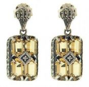 Art Deco Style Sterling Silver Citrine & Diamond Earrings
