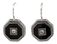 Art Deco Style Sterling Silver Octagon Shaped Black Onyx & Cubic Drop Earrings