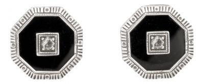Art Deco Style Octagon Shaped Black Onyx & Cubic Zirconia Earrings in Sterling Silver