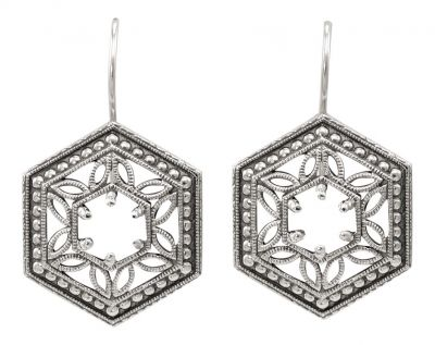 Art Deco Style Hexagon Filigree Earring Settings | 5.0mm Round | Sterling Silver