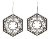 Art Deco Style Filigree 5.0mm Earring Settings in Sterling Silver