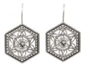 Vintage Style Sterling Silver Filigree Octagon Shaped Gemstone Earrings