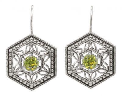 Art Deco Style Filigree Hexagon Gemstone Earrings in Sterling Silver