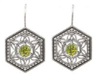 Art Deco Style Filigree Gemstone Earrings in Sterling Silver