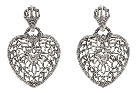 Antique Style Filigree Heart Shaped Diamond Earrings in Sterling Silver