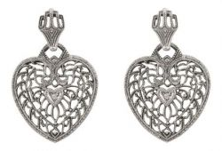 Edwardian Style Sterling Silver Heart Shaped Diamond Dangle Earrings