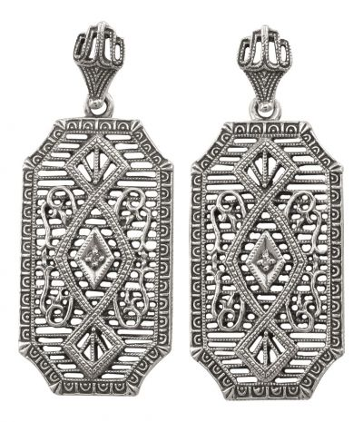Antique Style Filigree .02cttw Diamond Dangle Earrings in Sterling Silver