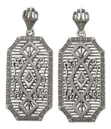 Edwardian Style Sterling Silver Diamond Earrings
