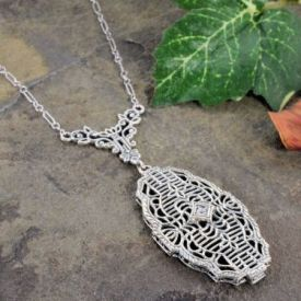Art Deco Style Sterling Silver Filigree Cubic Zirconia Necklace