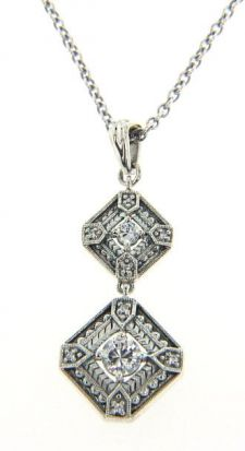 Art Deco Style Silver Filigree Two Tiered Gemstone Dangle Pendant