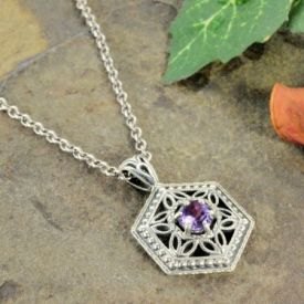 Art Deco Style Silver Filigree Octagon Shaped .50ct Amethyst Pendant