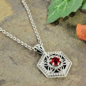 Art Deco Style Silver Filigree Octagon Shaped .65ct Garnet Pendant