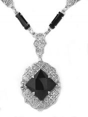 Art Deco Style Sterling Silver Filigree Onyx Necklace