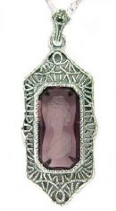 Antique Style Sterling Silver Filigree Intaglio Pendant