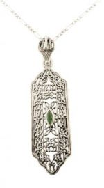 Edwardian Style Sterling Silver Filigree Emerald or Sapphire Pendant