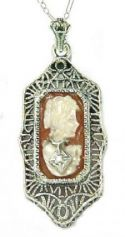 Edwardian Style Sterling Silver Filigree Habille Cameo & Diamond Pendant