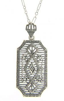 Edwardian Style Sterling Silver Filigree Diamond Pendant