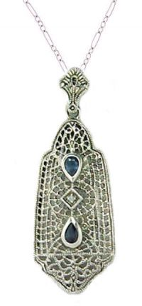 Edwardian Style Sterling Silver Filigree Sapphire & Diamond Pendant