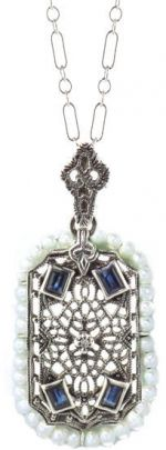Edwardian Style Sterling Silver Filigree Sapphire, Cultured Pearl & Diamond Pendant