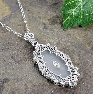 Art Deco Style Filigree Frosted Crystal Camphor Glass Pendant in Sterling Silver