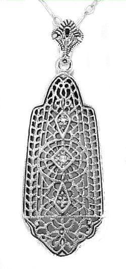 Edwardian Style Sterling Silver Filigree Diamond Pendant