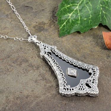 Art Deco Style Sterling Silver Filigree Black Onyx & Diamond Pendant
