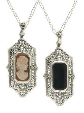 Art Deco Style Sterling Silver Filigree Cameo & Onyx Flip Pendant