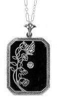 Art Deco Style Sterling Silver Filigree Frosted Crystal or Onyx Pendant
