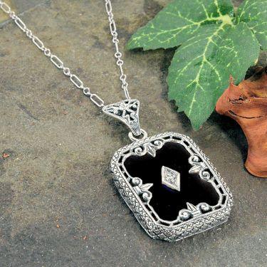 Art Deco Style Sterling Silver Filigree Black Onyx and Diamond Pendant