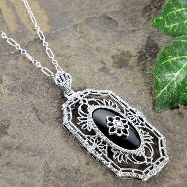 Art Deco Style Sterling Silver Filigree Onyx  & Diamond Pendant