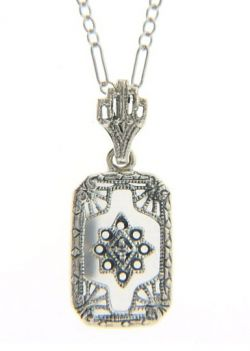 Art Deco Style Sterling Silver Filigree Frosted Crystal, Lapis or Onyx Pendant