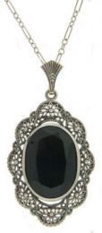 Vintage Style Sterling Silver Filigree Oval Onyx Pendant