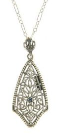 Edwardian Style Sterling Silver Filigree Diamond or Sapphire Pendant