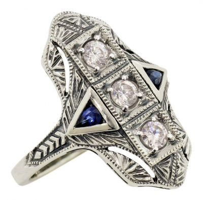 Art Deco Style Filigree White Topaz and Sapphire Ring in Sterling Silver