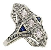 Art Deco Style Filigree Cubic Zirconia and Sapphire Ring in Sterling Silver