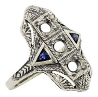 Art Deco Style 3.0mm 3 Stone with Sapphire Semi Set Ring in Sterling Silver