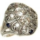 Sterling Art Deco Cubic Zirconia & Sapphire Ring