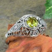 Antique Style Sterling Silver Filigree Gemstone & Diamond Ring