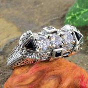 Art Deco Style Sterling Silver Filigree .95cttw Cubic Zirconia & Sapphire Ring