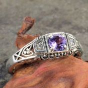 Antique Style Sterling Silver Filigree .25ct Amethyst & Diamond Ring