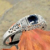 Antique Style Filigree 4.0mm Round Shaped Semi Set Ring w/ Diamond Accents