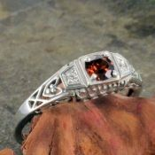 Antique Style Sterling Silver Filigree .35ct Garnet Ring